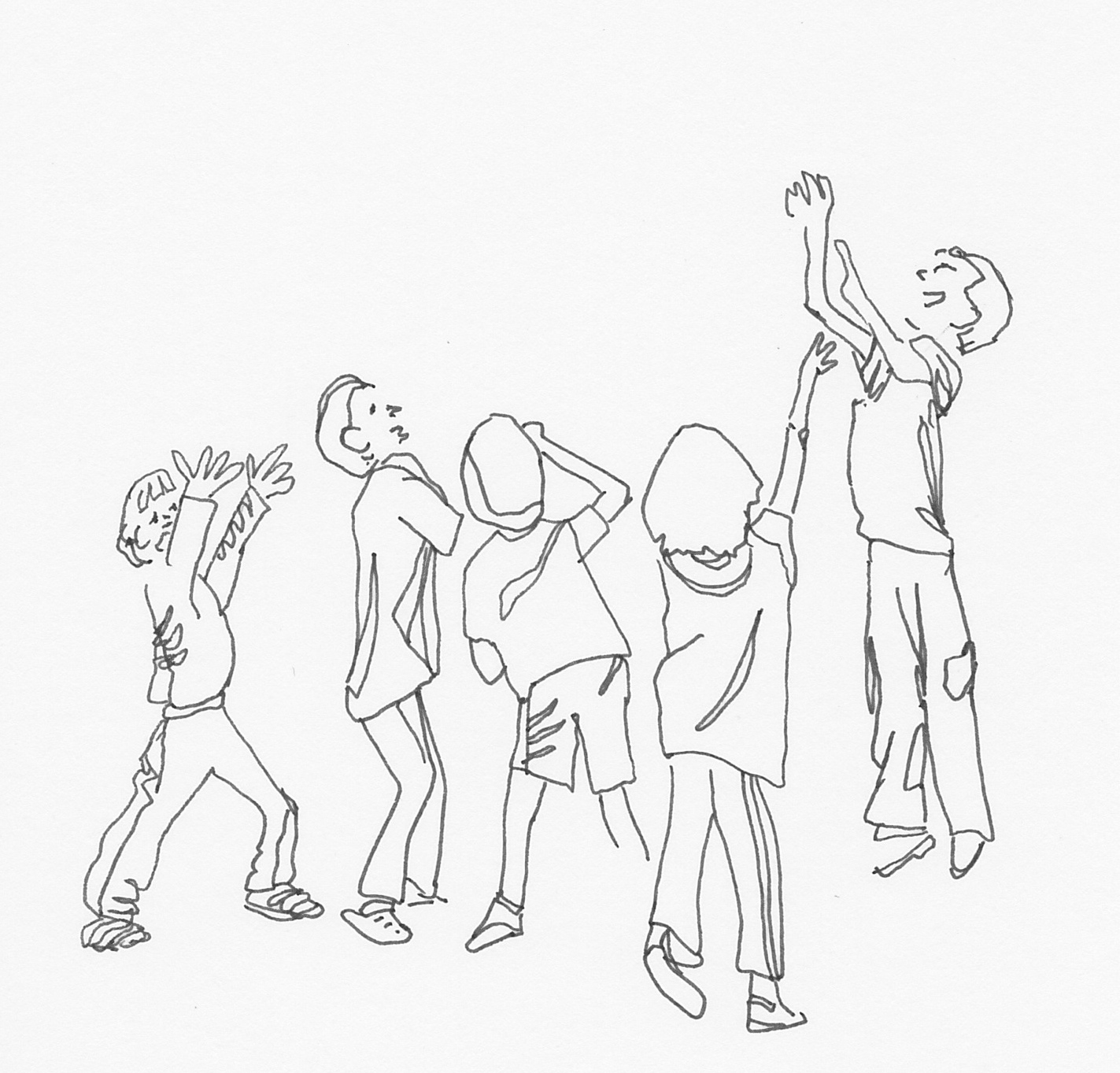 sketch 58 happy children from a photograph in national wildlife magazine i couldnt tell what they were reaching for - Sketches Of Kids
